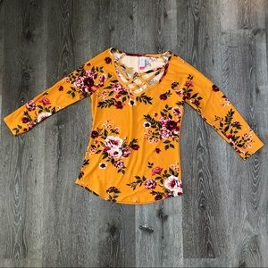 Mustard Floral Strappy Top